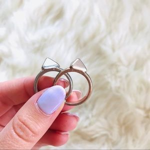 Jewelry - Set of triangle rings - silver and rose gold